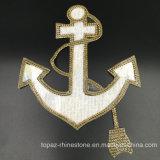 [تب-شيب'س] سفينة صفراء زخرفيّة مرجاة تصميم [هوتفيإكس] [رهينستون] حديد على رقعة لأنّ لباس داخليّ (مرجاة)