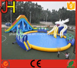 Heißer Verkaufs-riesiges aufblasbares Wasser-Plättchen mit Pool für im Freienunterhaltungs-Spiel