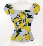 Servicio de OEM de blusa de algodón de la mujer la impresión de limón blusa de Suzhou.