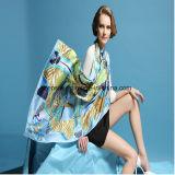 90 * 90cm Qualité L'écharpe en soie à imprimé numérique de style plus châle