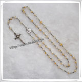 Pretty Natural Stone Saint Beads Rosary Necklace (IO-cr089)