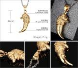 Amulet van de Juwelen van de Tegenhanger van de Draak van het Roestvrij staal van de Halsband van de Tegenhanger van de Wolf van de Halsband van de Tand van de Wolf van de Kleur van de Mensen van de stoom de Punk Gouden Mannelijke Gouden