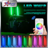 Chicote de diodo emissor de luz de 10 pés com Multicolor RGB Fuction Bluetooth Control LED Pole Light Flexible Whip LED Lamp