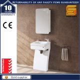 Белой шкаф мебели ванной комнаты лака установленный стеной