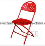 Fan-Back exterior de plástico silla plegable para la boda