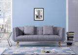 Nordisches Sitzgraues Gewebe-hölzernes Sofa des einfachen Entwurfs-drei (HC093)