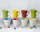 Tasses en céramique de porcelaine blanche de piste de forme ronde