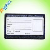 Carte de fidélité à l'adhésion en PVC coloré à la conception spéciale