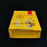 편평한 바닥은 주머니 알루미늄 호일 Zip 자물쇠 1회분의 커피 봉지 Customzied 디자인에 의하여 박판으로 만들어진 강직한 음식 비닐 봉투를 위로 서 있다