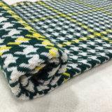 Проверите зеленый цвет & желтый цвет ткани шерстей Houndstooth
