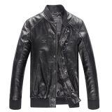 Nouvelle mode Hiver Européen Style Collier Zip Collants Homme Bourgogne Biker Veste en cuir véritable