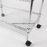 NSF Approval Household Kitchen 3 Tier Chrome Metal Dining Trolley Cart