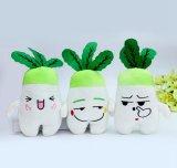 녹색과 백색 견면 벨벳에 의하여 채워지는 식물성 장난감