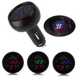 新しい3 In1デジタルボルトメータの温度計12/24VのタバコのライターUSB車の充電器