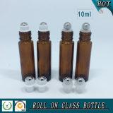 rullo di vetro ambrato 10ml sulla bottiglia con il rullo dell'acciaio inossidabile