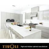 白い食器棚および黒い島デザイン台所家具(AP096)