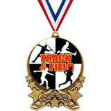 As imitações de esmalte medalha em execução com corda emblema epóxi dons de futebol