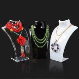 Étalage acrylique de détail de bijou de chaîne de collier de plexiglass clair pour le système/musée