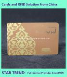 Logotipo da folha de ouro com cartões de tarja magnética Membro VIP