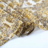 Écharpe estampée jaunâtre de mode de polyester bon marché avec la bonne qualité (HWBPS31)