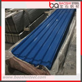 Hoja de acero acanalada galvanizada cubierta color para el material para techos