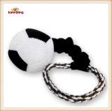 Juguete de la cuerda del perro del estilo del balompié del juguete de la felpa del animal doméstico con la maneta (KB0029)