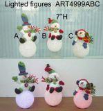 Santa et bonhomme de neige jouant la bille d'éclairage, 3 lumières d'Asst-Noël