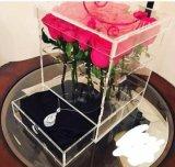 Caixa acrílica de Rosa do espaço livre da caixa da flor da alta qualidade feita sob encomenda com gaveta
