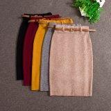 La jupe occasionnelle de jupe élevée de ceinture de femmes borde longtemps la jupe de noir de jupe de crayon