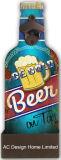 La birra squisita fresca dell'annata antica progetta il metallo di figura e l'apri per il cliente di bottiglia di carta di legno della decalcomania
