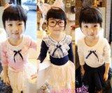 Frühlings-Mädchen-Spitze-lang Sleeved Hemd für Kinder