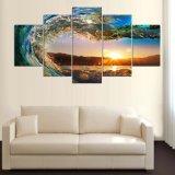 5 Panel-Basisrecheneinheits-Wellen-Abbildung-Wand-Dekor-Druck auf Segeltuch-Ölgemälde-Segeltuch-Farbanstrich für Weihnachtsgeschenk Mc-161