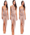 Halter Backless caqui Fashion e elegante vestido longo de seda pura