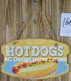 Het Ontwerp van de hotdog maakt de Plaque van het Decor van de Muur van het Metaal van de Druk in reliëf