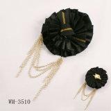 Ruban noir de satin avec la broche à chaînes (WM-3510)