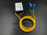 광학 섬유 케이블 Gpon 원거리 통신 1X2 플라스틱 상자 PLC 쪼개는 도구 Sc/Upc
