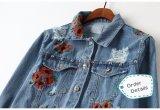 Заказы высокого качества испанские для кнопки вышивки цветков к вскользь куртке джинсовой ткани