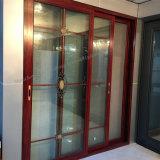 Aleación de aluminio color madera puerta deslizante con rejillas decorativas