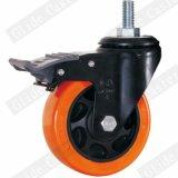 Mittleres Aufgabe PU-Fußrollen-Rad mit der Spitzenbremse (orange) (G3206E)