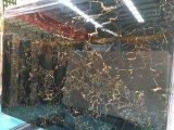Il nero & marmo di Portoro dell'oro tagliato per graduare le mattonelle secondo la misura di pavimento