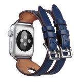 Correa de reloj ancha del cuero genuino con 2 hebillas para la venda de reloj de Apple