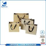 Bolsa de papel de lujo de la cinta de las compras por encargo de la maneta