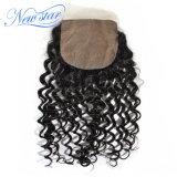 絹の基礎閉鎖の加工されていなく自然で深い巻き毛のインドのHuamnの毛