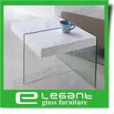 Tabella laterale di vetro con il MDF nell'alto colore di bianco di lucentezza
