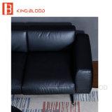 Le sofa noir moderne populaire de cuir véritable de Nappa a placé pour la salle de séjour