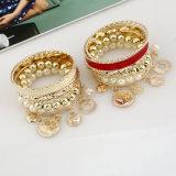 Monili della perla degli accessori del partito del costume di Halloween delle monete di oro dei braccialetti del calzino del braccio della manopola di ballo di pancia