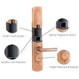 Hogar digital de huellas digitales electrónicas inteligentes de seguridad de bloqueo con la empuñadura de puerta 100 huellas dactilares