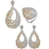 Bijuterias folheadas a ouro branco de alta qualidade Zircon Suite Jóias Definido