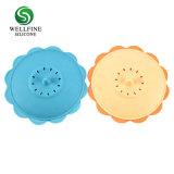 Le silicone Baby Feeding Bowl Kids assiette à dîner, forme de fleur Bol avec couvercle