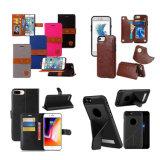 El teléfono móvil encajona la caja de cuero de la PU de la carpeta movible para el iPhone X 8 7 6 que Samsung más observa 8 el borde de S7 S8